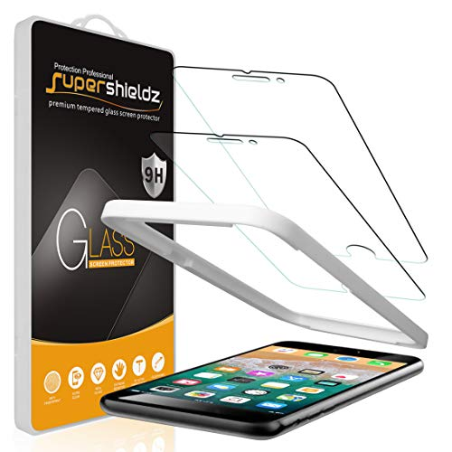 (2 Pack) Supershieldz for Apple iPhone 8 Plus and iPhone 7 Plus (5.5 inch) Tempered Glass Screen Protector with (Easy Installation Tray) Anti Scratch, Bubble Free