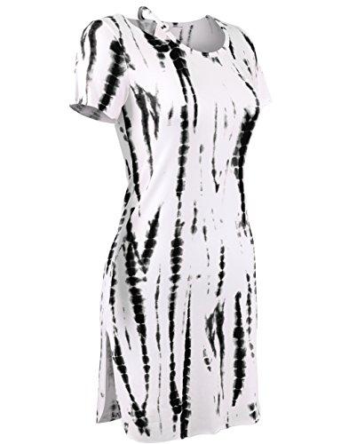 Doubldo Damen-T-Shirt-Kleid, gerippter Saum, Rundhalsausschnitt -  Schwarz -  Klein