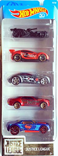 Hot Wheels Justice League 5er Fahrzeug Set - 5 verschiedene Charakterfahrzeuge im Maßstab 1 : 64