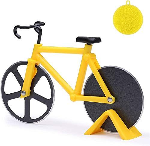 Pizzaschneider Fahrrad, Pizzaroller aus Rostfreiem Stahl, Antihaftbeschichteter Pizza Schneider mit Ständer, Geeignet für Pizzaparty usw., Interessante Geschenke, Gelb