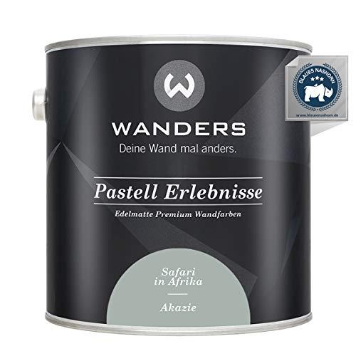 Wanders24® Pastell Erlebnisse (2,5 Liter, Akazie) edelmatte Wandfarbe - Feine Farben - in 40 Farbtönen - Wandfarbe Grau - Made in Germany
