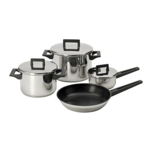 IKEA SNITSIG – 7-piece cookware set stainless steel