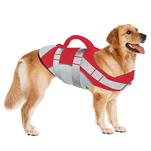 SUNFURA Pet Life Jackets, Summer Dog Float Coat with Reflective Strips and Rescue Handle, Adjustable Ripstop Pet Life Vest for Small, Medium, Large Dogs(Red,L)