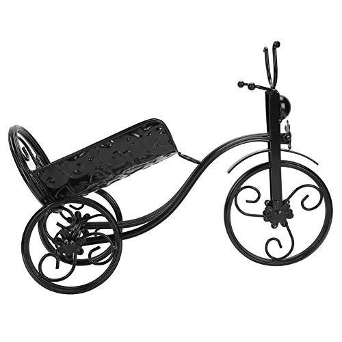Omabeta Soporte de Vino de Hierro Decorativo Artesanal Soporte de Vino Forma de Triciclo Resistente para mostrador gabinete decoración del hogar Comedor(Black)