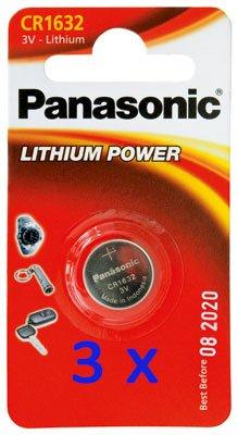 Panasonic CR1632 3 Volt Lithium Batterie original 3er Pack