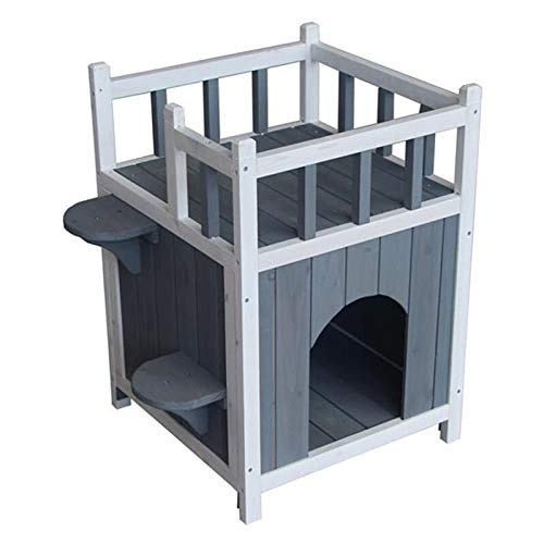 weichuang Kennel Wooden Cat Pet Home with Balcony Pet House Small Dog Indoor Outdoor Shelter Kennel