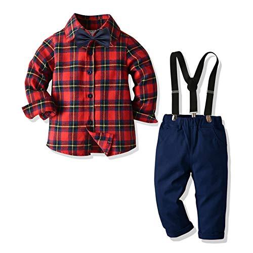Geagodelia Gentiluomo - Conjunto de ropa de bebé con pajarita, mono vaquero para niños, con tirantes, camisa con lazo + pantalones para otoño e invierno Camicia A Quadri Rossa 1-2 Años