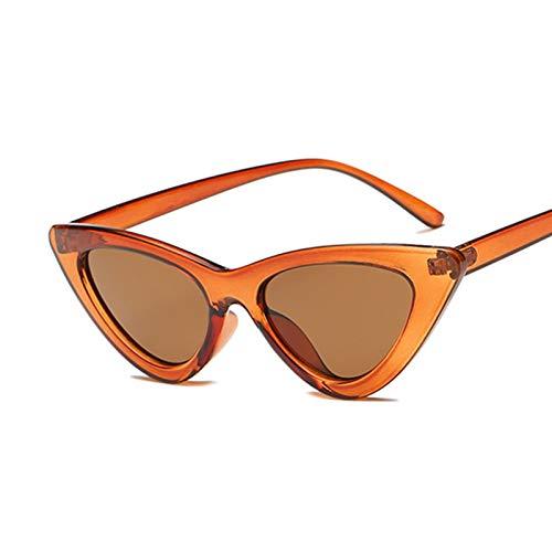 FDNFG Gafas de Sol Vintage Gato Ojo Gafas de Sol Mujeres Marco de plástico clásico Gafas de Sol Femenino Retro Moda Espejo señoras Gafas de Sol (Lenses Color : Brown)