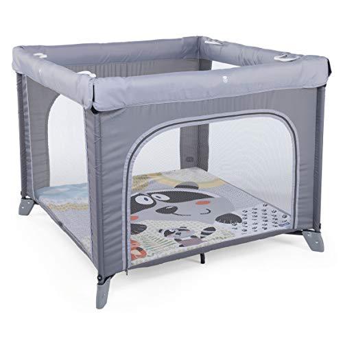 Chicco Open Box - Parque de juegos infantil bebé con alfombra extraíble y cremallera, 0-4 años, diseño mapache color gris (Honey Bear)