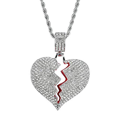 BESPORTBLE Glänzende Luxus Strass Halskette mit gebrochenem Herzen Anhänger und robuste Kette für Paar (Silber)