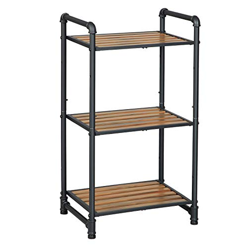 VASAGLE Bathroom Shelf, 3-Tier DIY Storage Rack, Industrial Style Extendable Plant Stand with Adjustable Shelf, for Living Room, Bathroom, Balcony, Kitchen, Rustic Look UBSC23BX