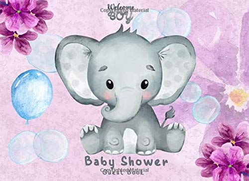 Baby Shower Guest Book: Keepsake Log, Cute Baby Elephant Lavender Floral Theme, Welcome Baby Registry, All Word of Wisdom, Advice for Parents, Guest Book for Family & Friends to Sign In