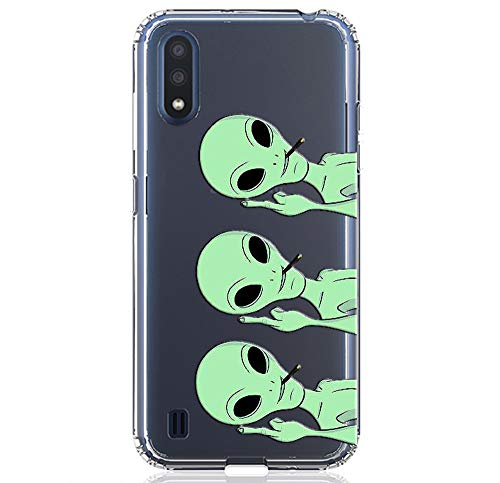 HUIYCUU Compatible with Galaxy A01 Case 5.8', Shockproof Anti-Slip Cute Green Animal Print Clear Design Pattern Funny Slim Crystal Soft Bumper Girl Women Cover Case for Samsung Galaxy A01, Aliens