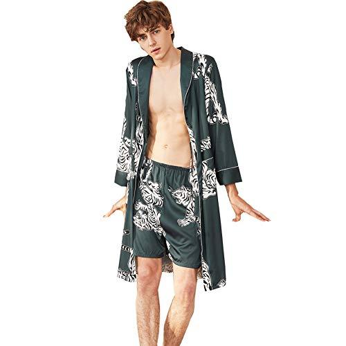 Men's Satin Robe with Shorts Nightgown Kimono Printed Bathrobe(Indigo,L)