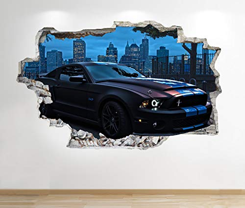 1Stop Graphics Shop MUSTANG WALL STICKER 3D LOOK - BOYS KIDS BEDROOM SUPERCAR WALL DECAL Z617 Size: Large