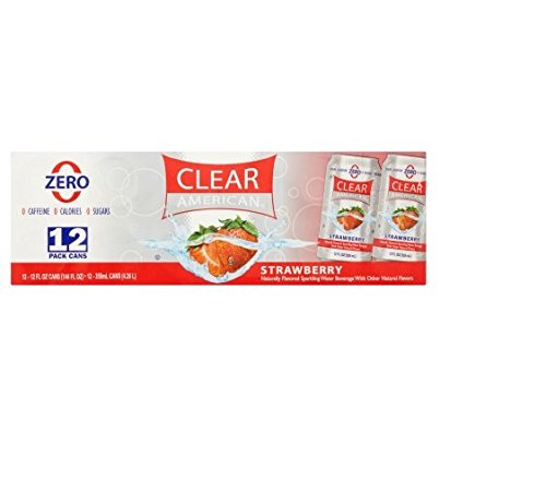 Clear American Strawberry Sparkling Water Beverage, 12 fl oz, 12-Pack
