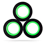 nixo Magnetic Rings Fidget Toy, Pack of 3, Space Black, Freestyle Rolling Finger Fidget Ring for Anxiety, ADHD and Stress, Cool Neodymium Magnet Spinner for Kids, Children & Teens Spinning Gear