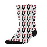 OKAYDECOR Women's Crazy Funny Crew Socks,Novelty I Love Cock Chicken Socks