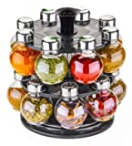 spice rack set -Made from Unbreakable ABS Materials Body and Jars Are Dishwasher Safe, Refillable And Are 2.5 Ounces In Volume 16 pcs spice rack revolving --Good Functionality-it does the job well condiments set--Multi Purpose Uses containers for kit...