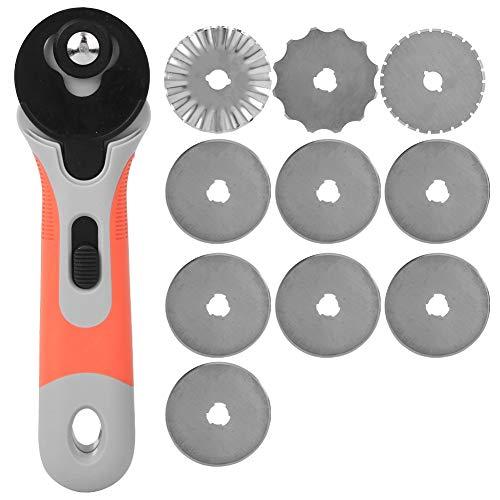 Cortador giratorio, cortador de tela de rotación manual de 45 mm Herramienta de corte artesanal de bricolaje con cuchillas de 10 piezas para cortar papel de cuero de tela acolchada(Cortador giratorio)