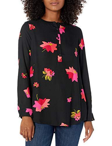 Amazon Essentials Camicetta in Tessuto a Maniche Lunghe. Dress-Shirts, Motivo Floreale Nero e Rosa, L