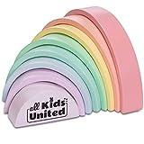 all Kids United Arc-en-Ciel en Bois coloré, Pont en Arc Fait de Blocs de Construction, Tour d'empilage Jouet éducatif Fait de Blocs de Construction de 8 pièces, certifié FSC