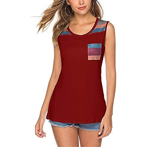 Camiseta Mujer Elegante Sin Mangas Cuello Redondo Camisetas Ajustadas Mujer Verano Vacaciones Playa De Arena Tops Sport Casuales Mujer Suave Y Cómoda All-Match Blusa Mujer C-Red L