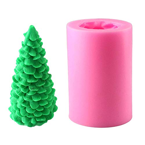 3D Kerzenform Weihnachtsbaum Silikon Kerze Formen Weihnachten Kerzengießform Silikon Weihnachtsbaum Form DIY Kuchenform für Kuchen Puddings Pralinen Kerzen, 8x5x5cm