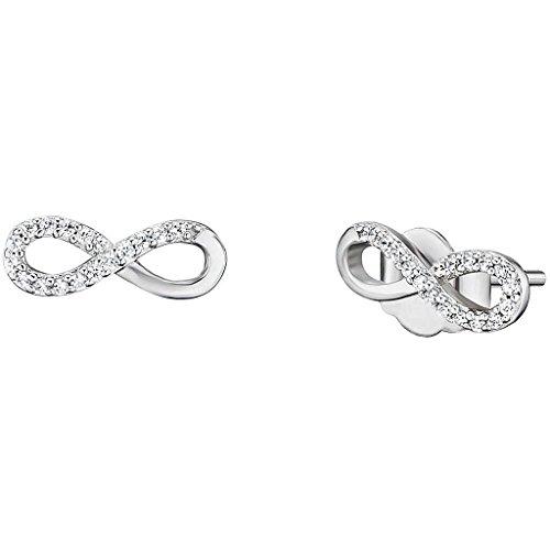 Engelsrufer Infinity Ohrstecker für Damen 925er Sterlingsilber besetzt mit 34 weißen Zirkonia Größe 12 mm