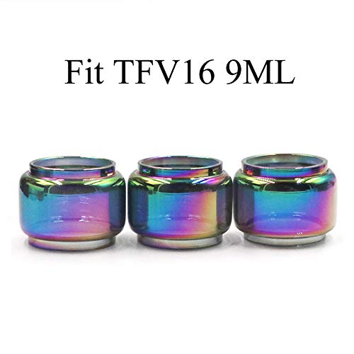 CENGLORY 3PCS Replacement TF-V16 9ml Bulb Glass Tube 24mm Tall Tubes 32mm OD Bulb Glass Tubing Home Decoration (Rainbow)