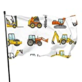 GOSMAO Gartenfahne Gabelstapler Kran Bagger Traktor Bulldozer LKW Lebendige Farbe und UV-lichtbeständig Doppel genäht Yard Yard Banner Saison Flagge Wandflagge 150X90cm
