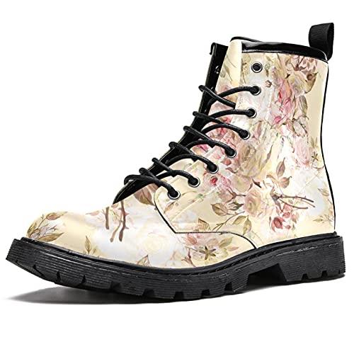 Rose and Bumble Bee - Zapatos impermeables con cordones planos para el tobillo y botas de tacón bajo, color, talla 45 EU