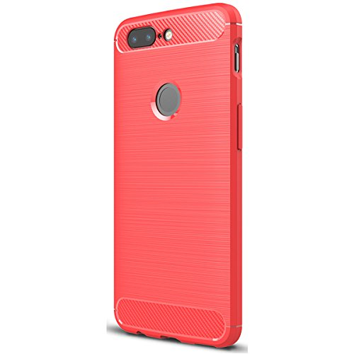 Tianqin OnePlus 5T Funda, Ultra-Delgado Ultraligero de Amortiguación Silicona TPU [Anti Deslizamiento] [Resistente a los Arañazos] Cubierta Protectora del Caso para OnePlus 5T Case - Rojo