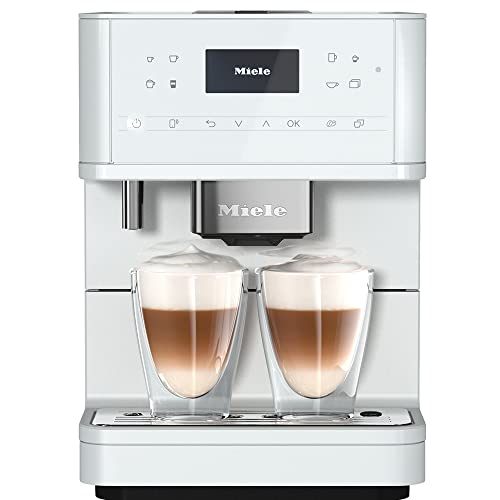 Miele CM 6160 MilkPerfection Kaffeevollautomat – OneTouch for Two, AromaticSystem, 4 Genießerprofile, DoubleShot, WLAN-fähig, LED-Beleuchtung, leichte Reinigung u. v. m. – Lotosweiß