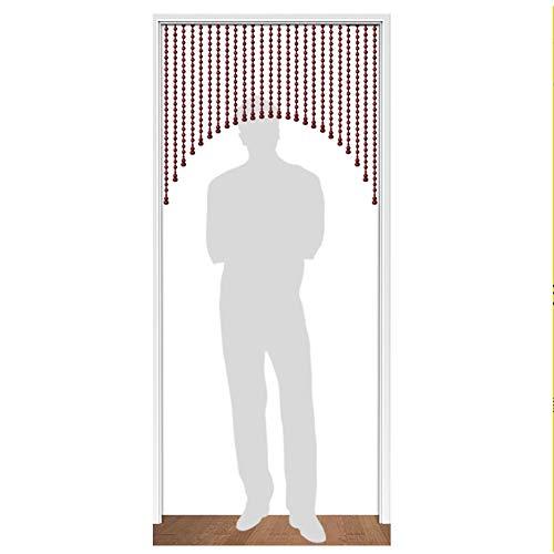 SSRS Cortinas moldeadas Sala Pasillo del Arco de Reparto Cortina Vino Tinto, fácil de Limpiar, fácil de Instalar, Personalizable Superficie Lisa perlada (Color : A, Size : 25 STRANDS-80X80CM)