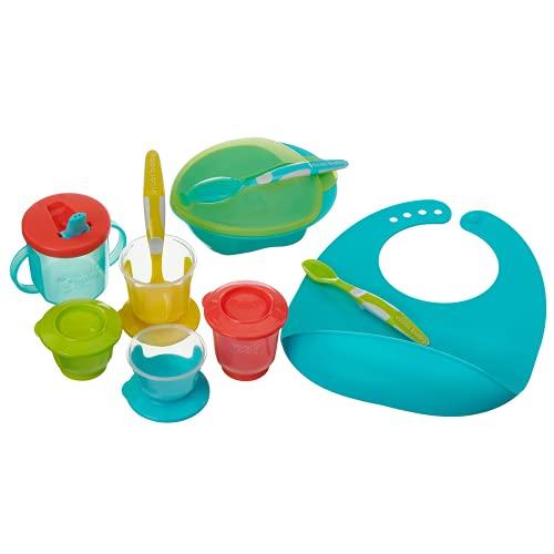vital baby NOURISH Kit de inicio de destete pop Incluye cuchara, juego de cucharas, ollas de destete babero de silicona y una taza de flujo libre, multicolor