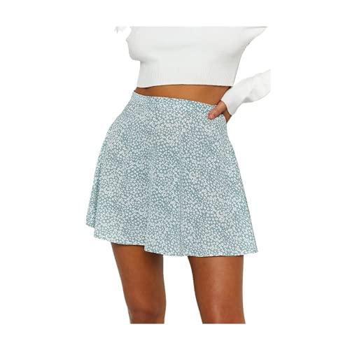 Verano floral impresión gasa faldas mujer moda cintura alta