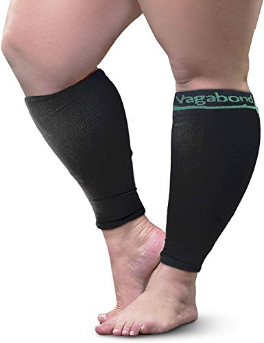 Vagabond Wide Calf Plus Size Graduated Compression Socks Sleeves-Soothing Comfy DVT Large Cuffs - Great for Travel (Black, 2X-large)