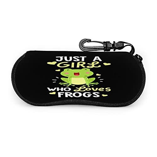 Just A Girl Who Loves Frogs Estuche Protector Unisex , para Gafas Gafas de Sol , Estuche Blando Estuche para Gafas con Cremallera , con Clip para cinturón