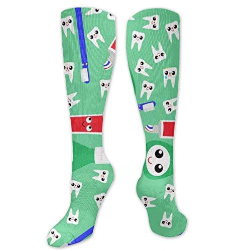 NA Heren & Vrouwen Casual Knie High Tube Sokken Mid-Calf Sokken Kostuum Cosplay Sokken Meisjes Nieuwigheid Sokken, Leuke Tanden Tandpasta Groen