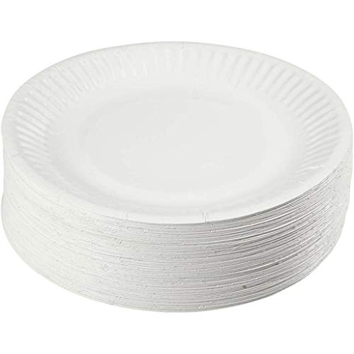 100 Paper Plates Disposable Plates for Party Outdoor Available in 6Inch / 7inch / 9Inch - Manufacture Sealed - Best Hygiene Standards (7-INCH)