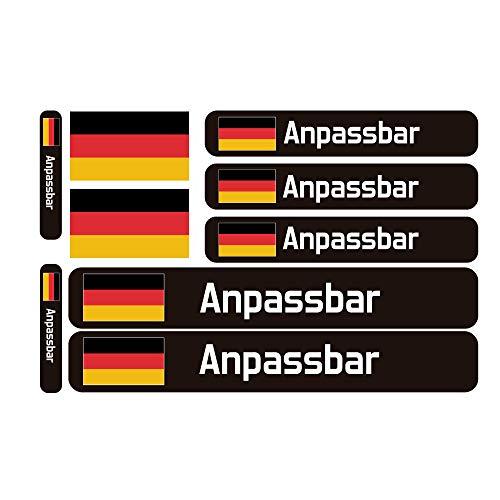 9 Fahrrad Namensaufkleber & Flagge, Benutzerdefinierte Aufkleber mit Flagge, für Fahrräder, Motorräder, Autos und andere Objekte.