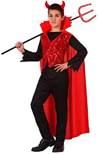 Atosa-10579 Disfraz Demonio para Niño Infantil, color rojo, 10 A 12 Años (10579)