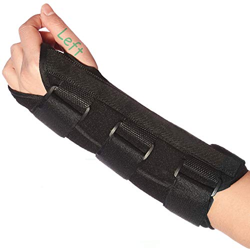 Wrist Brace Stabilizer Support Brace with Aluminum Splint for Carpal Tunnel Arthritis, Adjustable Arm Compression Hand Support for Injuries, Wrist Pain, Sprain, Sports - Single (Left, Large)