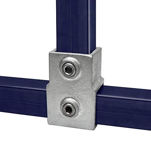 Klemp - Quadratische Rohrverbinder 40x40 mm Vierkantrohre Temperguss T-stück - Kurz - Typ 2S-40