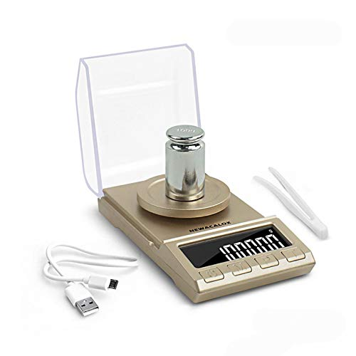 NEWACALOX Digital Milligram Jewelry Scale 100 x 0.001g ,High Precision Portable Multifunction Lab Reload Powder Scales with Calibration Tare Weights, Glod