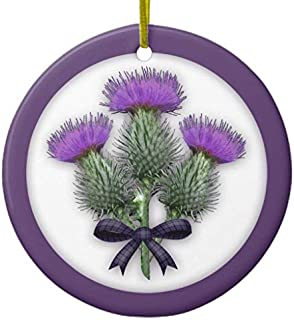 Ditooms Purple Scottish Thistles with Tartan Plaid Bow Ceramic Ornament Circle 3 Inches