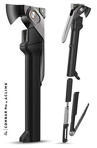Aclim8 COMBAR Pro Titanium - Rescue and Survival tool, 5 in 1: Hammer, Axe, and Spade Built Into the Body, with an Additional Knife and Saw and a Magazine- Elite Adventurer Tool