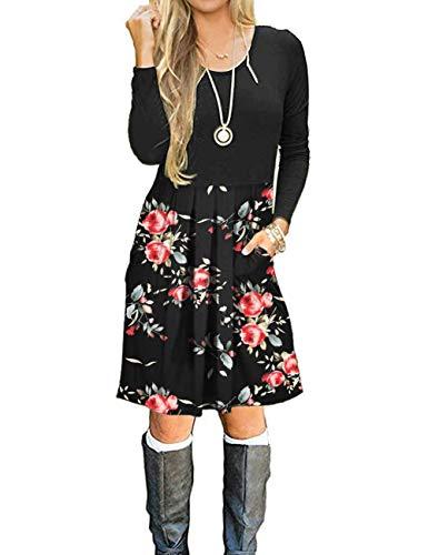 AUSELILY Damen Langarm Plissee Loose Swing Freizeitkleid mit knielangen Taschen(Schwarze Rose Schwarz,44-46)