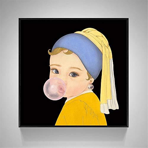 oioiu Humor Mural niños niña niño Juego de rol Lienzo Pintura Carteles e Impresiones Sala de Estar Dormitorio Pasillo Mural sin Marco